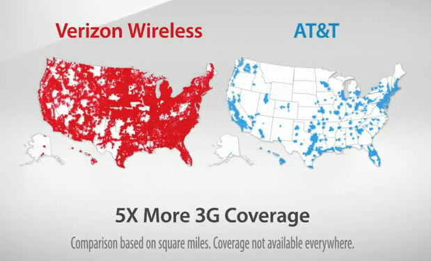 This Ad Is Made By Verizon Promoting Their Cell Phone Company This Ad Shows Two Pictures Of Usa One With Verizon S Coverage And One With At T S Coverage
